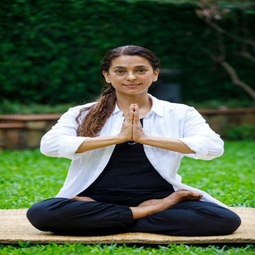 Juhi Chawla doing yoga